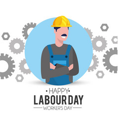 Professional man mechanic with gears to labour day vector