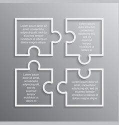 Puzzle infographic square four step puzzle jigsaw vector