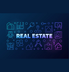 Real estate banner made of thin line icons vector