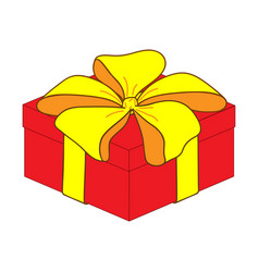 Red close gift box sign 3410 vector