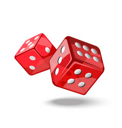 Red game dice in flight vector