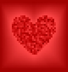 red pixel heart on rose and red background vector image