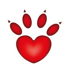 red silhouette dog footprint icon vector image