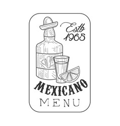 restaurant mexican food menu promo sign in sketch vector image
