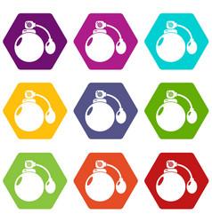 Retro perfume bottle icons set 9 vector