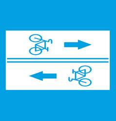 road for cyclists icon white vector image