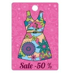 Sale label with dress colorful vector