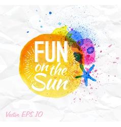 Sand watercolor lettering fun on sun vector