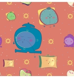 Seamless pattern Funny alarm clocks vector image