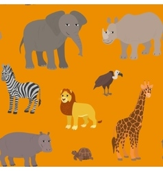Seamless pattern with cartoon african animals vector image