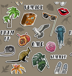 seamless pattern with travel items stickers vector image