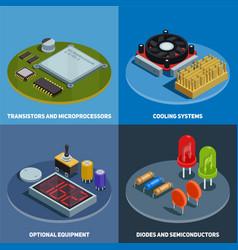 semiconductor 2x2 design concept vector image