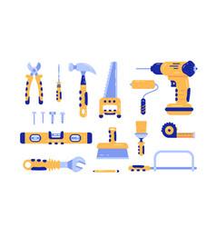 set construction tools vector image
