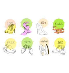 Set hand drawn graphic man and women footwear vector