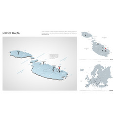 Set malta country isometric 3d map malta map vector