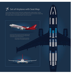 Set of airplane with seat map isolated vector
