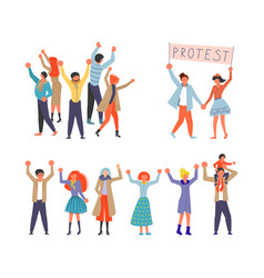set of public street protest concept vector image