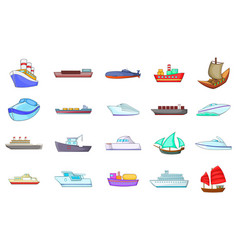Ship icon set cartoon style vector