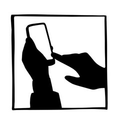 silhouette hand businessman using mobile phone vector image
