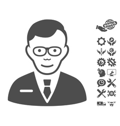 Specialist icon with tools bonus vector