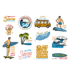 Surf badge and wave palm tree and ocean tropics vector