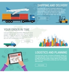 Three banners logistic and transportation vector image