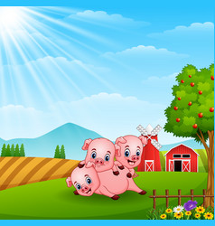 Three little pig playing on daylight vector