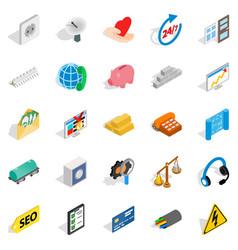 Trust icons set isometric style vector