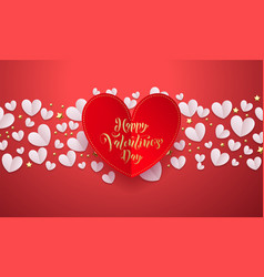 valentines background with romantic red paper cut vector image
