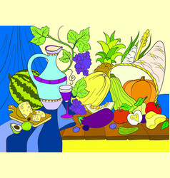 Vegetables and fruits harvest style vector