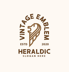 vintage heraldic lion logo template logo vector image