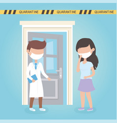 virus covid 19 quarantine doctor and woman with vector image