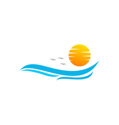 water wave and sun logo design vector image