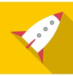 White retro rocket icon flat style vector image