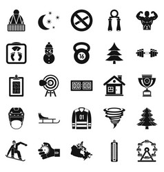 winter sport icons set simple style vector image