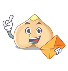 With envelope chickpeas character cartoon style vector