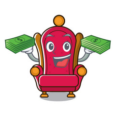 With money king throne mascot cartoon vector