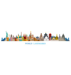 World skyline landmarks in flat design style vector