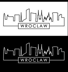 wroclaw skyline linear style editable file vector image
