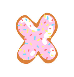 X letter in the shape of sweet glazed cookie vector