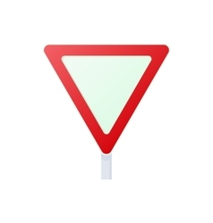 Yield triangular road sign icon cartoon style vector image