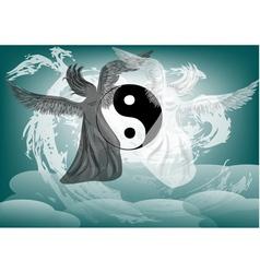 Yin and Yang fantasy with angels vector image