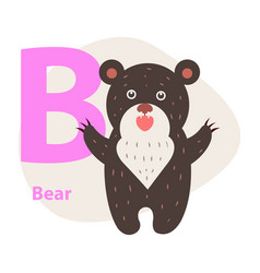 zoo abc letter with cute bear cartoon vector image