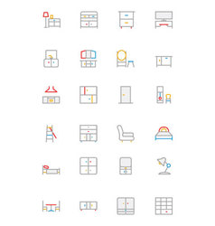 Furniture Colored Outline Icons 3 vector image vector image