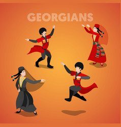 isometric georgian people in traditional clothes vector image vector image