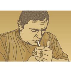 lighting cigarette vector image