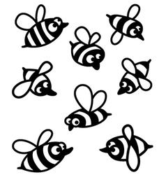 set with cute bee silhouettes vector image vector image
