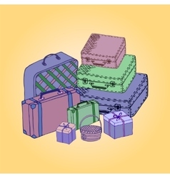 Suitcases isolated on a colored background vector image