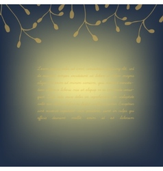 Template invitation card deep blue golden vector image vector image