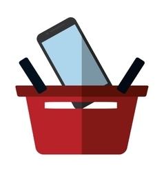 basket buying online smartphone commerce color vector image vector image